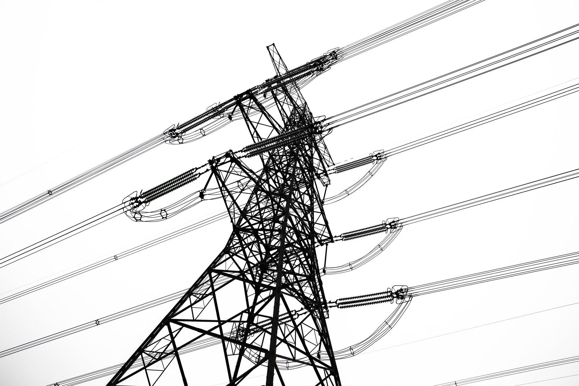 Aluminum power lines overhead