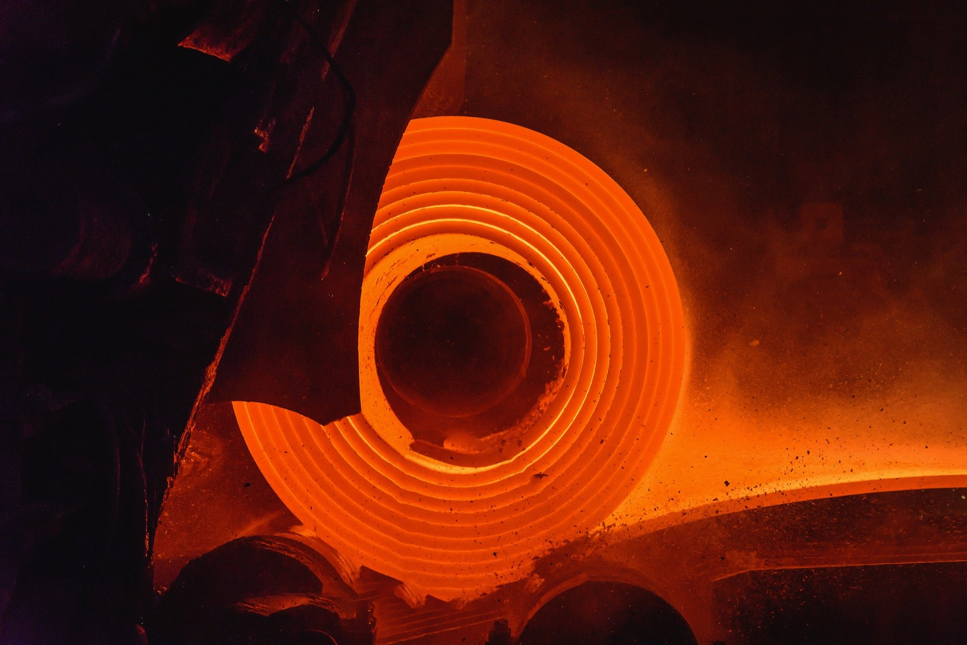 Hot rolled steel being coiled